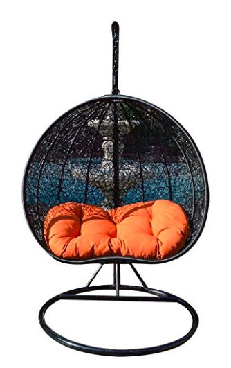 Two Person Wicker Egg Chair with Stand