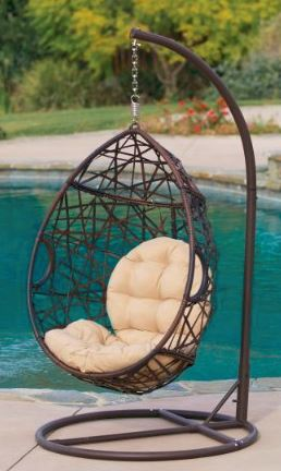 Wicker tear drop hanging chair