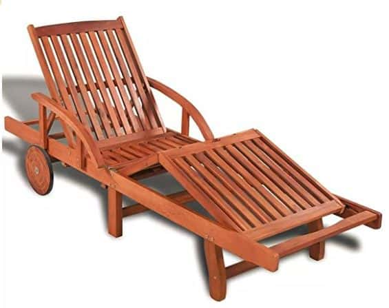 Wood Patio Chaise Lounger
